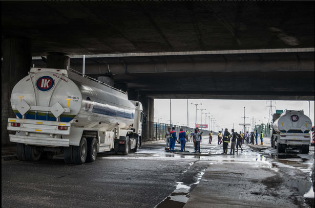 Hero firefighters save the day as fuel tanker spills content in Lagos