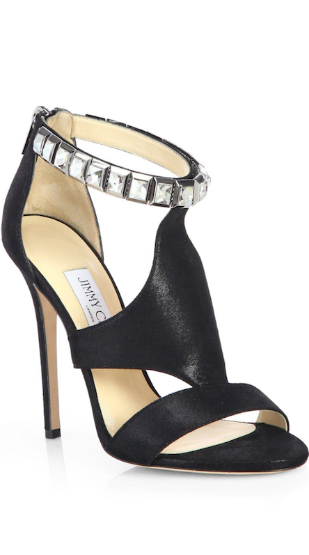 Jimmy Choo Halo Shimmer Suede Crystal-Strap Sandals