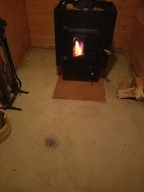 First sauna firing after the cement floor was completed.
