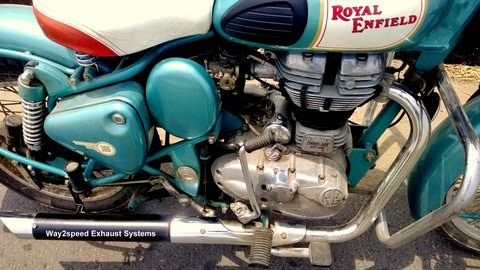 "Royal Enfield Free Flow Silencer ""way2speed Alter Ego"" Royal Enfield custom silencer which is Harley Type Exhaust For Royal Enfield named ""Alter Ego"" muffler by way2speed Exhaust system. Its a Royal Enfield Free Flow Silencer with glass wool padding."