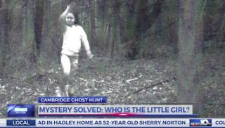 Ghost girl running in woods photos