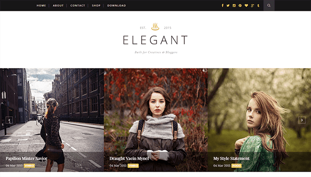 Demonstração Theme Elegant para blogs Clean e responsivo 2018