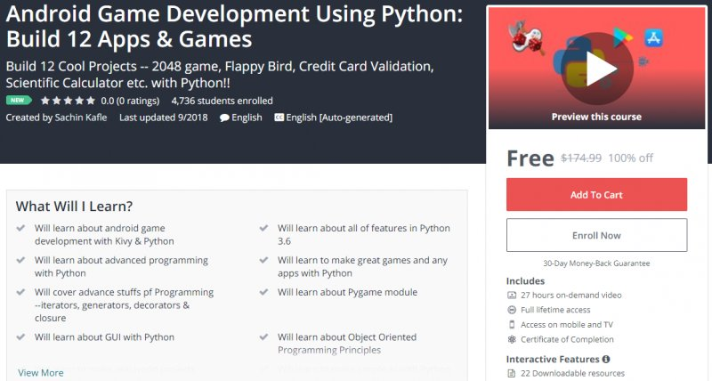 100% Off] Android Game Development Using Python: Build 12