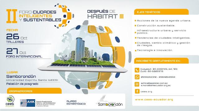 """II Foro Internacional """"ciudades inteligentes y sustentables – después de Hábitat III"""""""