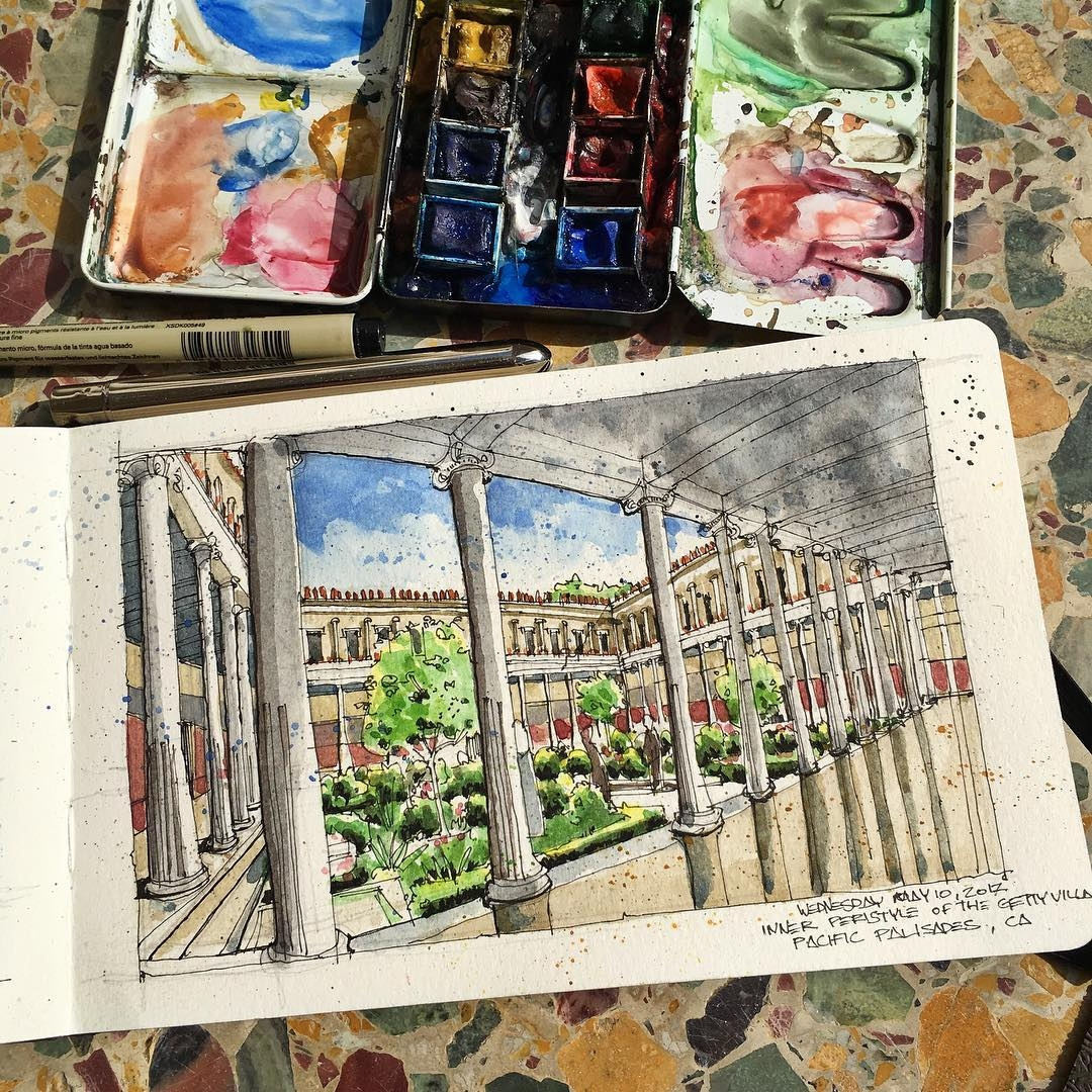 13-Sketching-the-Inner-Peristyle-Gardens-at-Getty-Villa-Josiah-Hanchett-Urban-Sketcher-taking-in-the-views-and-Drawing-them-www-designstack-co