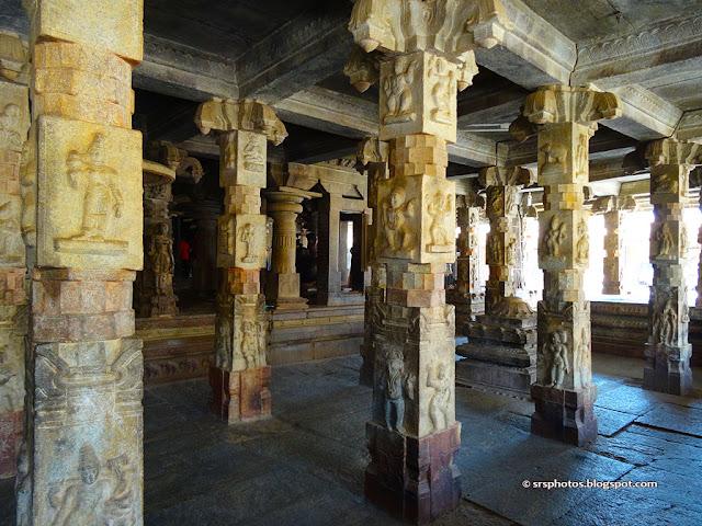Pillars of large Maha Mantapa, Bhoga Nandeeshwara Mandir, Bangalore