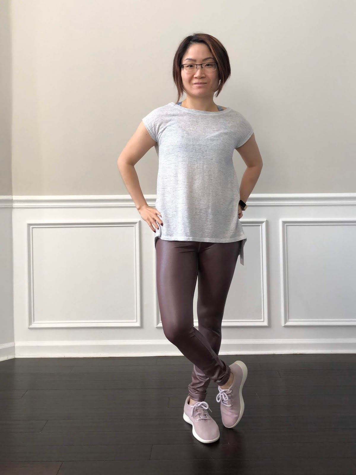 ca07e77eed1 Petite Impact  Fit Review! Athleta Elation Shimmer Tight