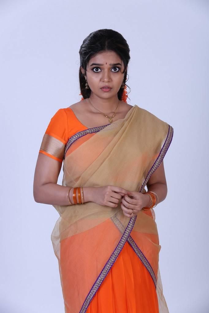 Indian Model Actress Swathi Reddy Photoshoot In Orange Half Saree