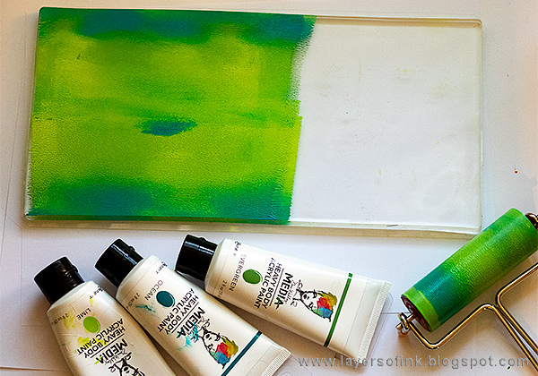 Layers of ink - Gel Printed Leaf Frame Tutorial by Anna-Karin Evaldsson with Ranger's Gel Printing Plate
