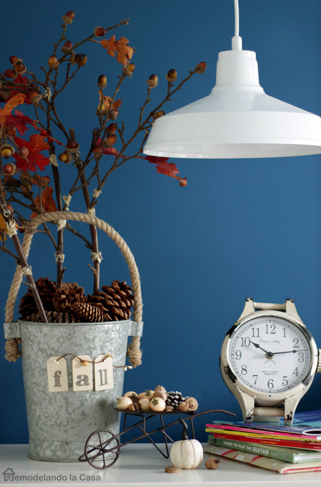 old clock, little wheelbarrow decorate for Fall, Aluminium vase with Fall branches decor
