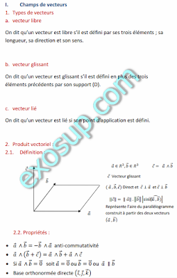 Champs de vecteurs et Torseurs smp s3
