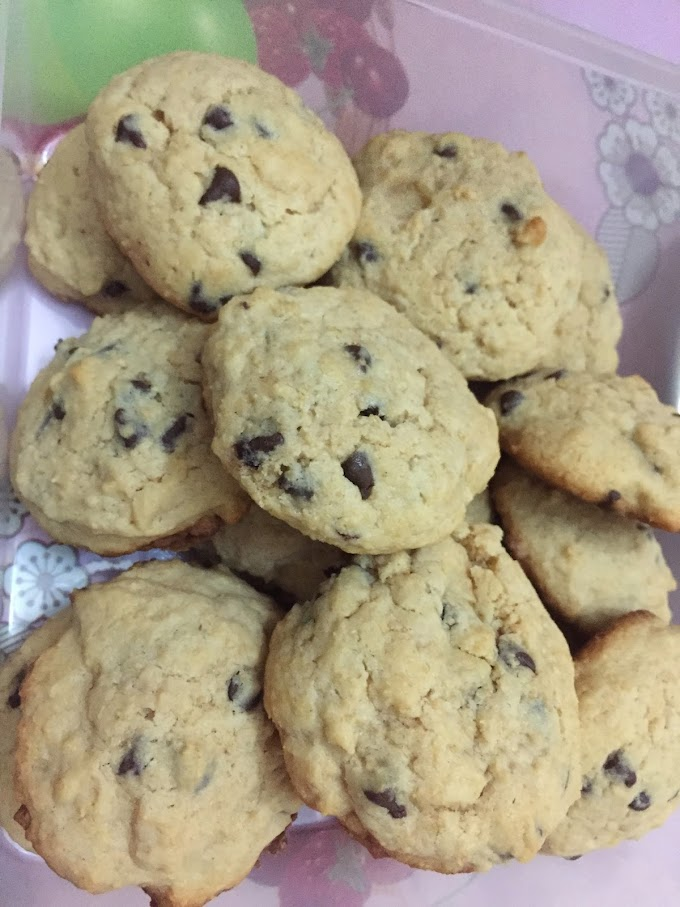 Chewy chocolate chips cookies baked with cream cheese
