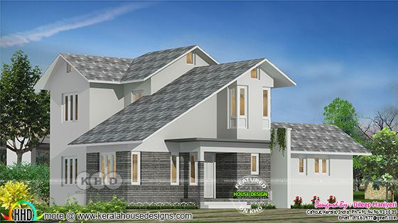 Slanting + sloping roof mix home 1708 sq-ft