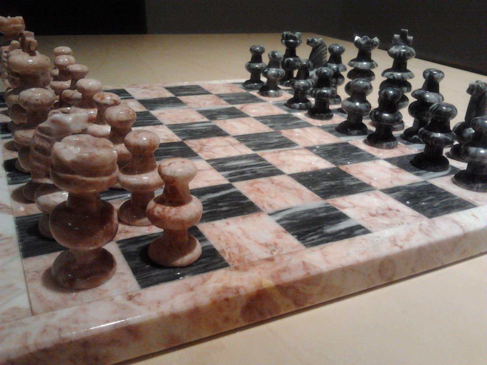 Marble Chess Set Pink amp Grey Stone in pristine condition