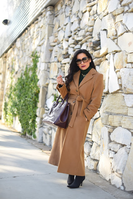 Ralph Lauren Taylor double-zip satchel burgundy Bosch camel coat Paige Verdugo Ultra Skinny Gray Denim Jeans Donald J. Pliner black crepe elastic heel boots Gucci sunglasses vintage green and gold necklace emerald green turtleneck