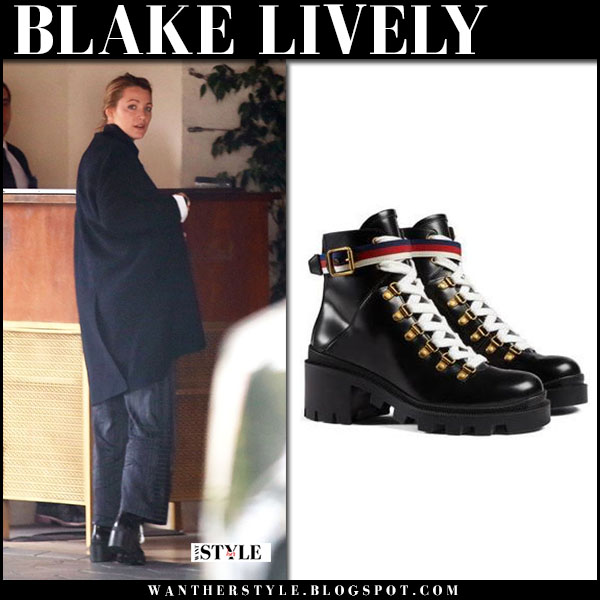 Blake Lively in black coat and black lace up combat boots gucci street fashion march 7