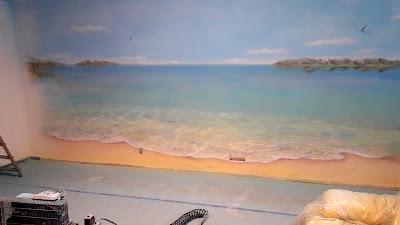 Mural 3D malowanie plaży na ścianie, graffiti w pokoju młodzieżowym, malowanie morza, pejzaż morski