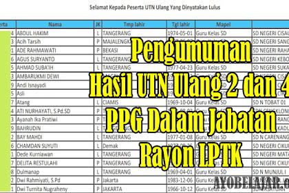 Pengumuman Hasil UTN Ulang 2 dan 4 Lengkap Seluruh Rayon LPTK PPG Dalam Jabatan