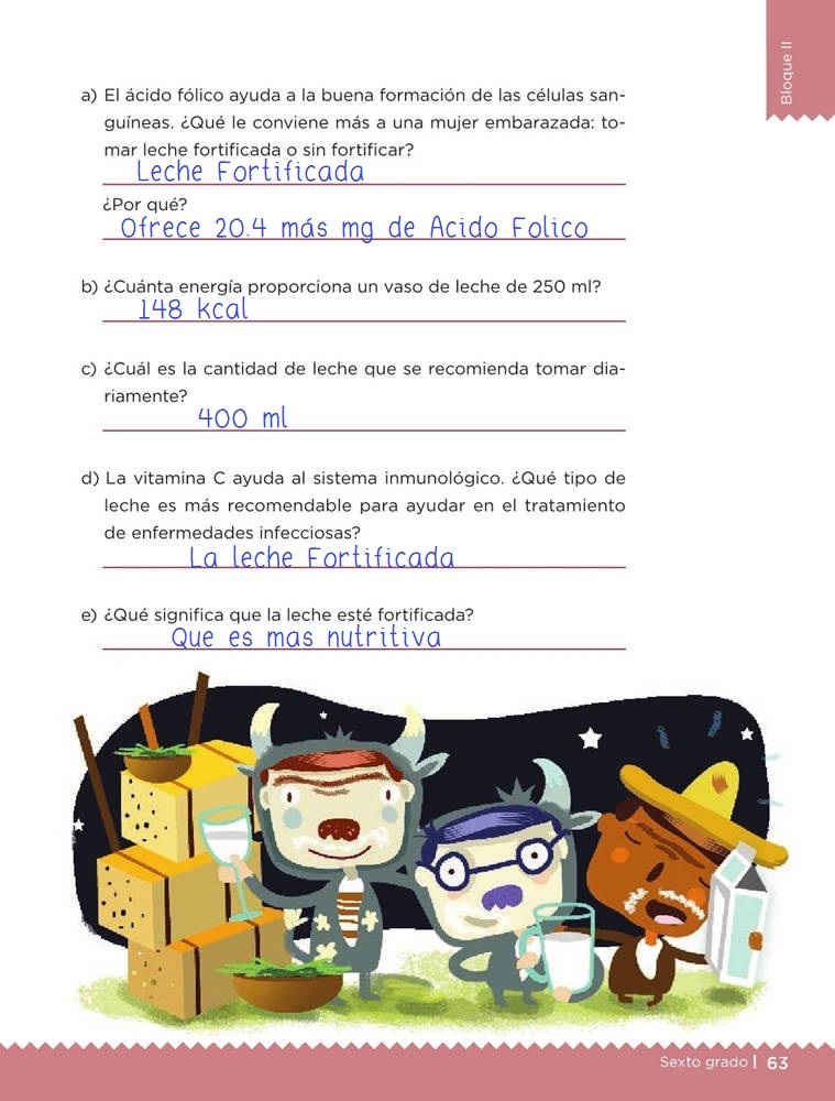 Libro de textoDesafíos MatemáticosAlimento nutritivoSexto gradoContestado pagina 63