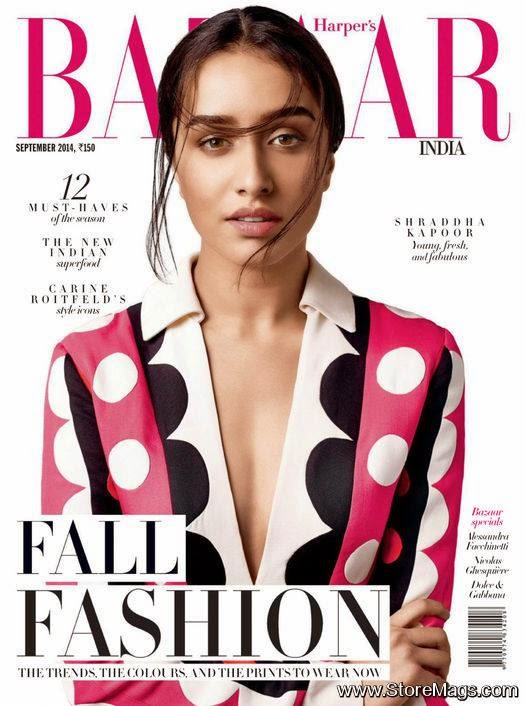 Shraddha Kapoor wears Valentino polka-dots for Harper's Bazaar India September 2014
