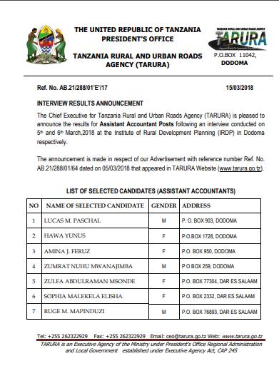 THE CALL FOR JOB AT TANZANIA RURAL AND URBAN ROADS AGENCY (TARURA) MARCH 2018.