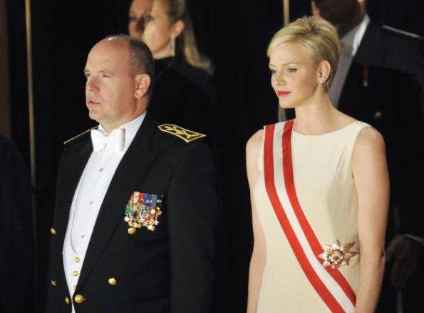 Prince Albert II, Princess Charlene, Princess Caroline, Princess Stephanie, Charlotte Casiraghi and Pierrre Casiraghi