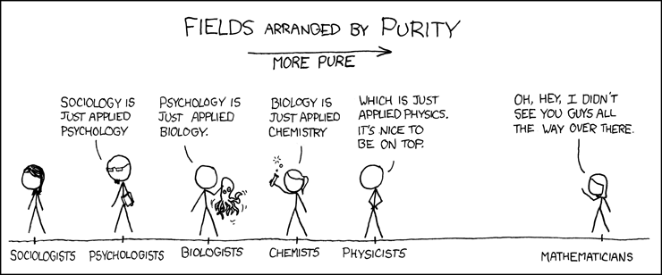 On the other hand, physicists like to say physics is to math as sex is to masturbation. - Source: XKCD - https://xkcd.com/435/