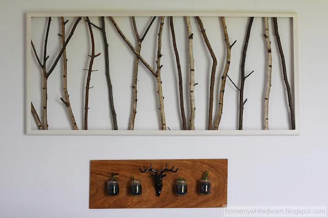 drewniany mini kwietnik, wieszak jeleń,