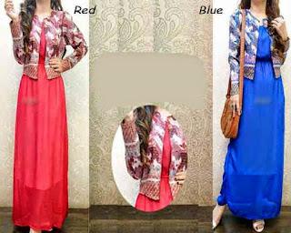 Model Gamis Batik Kombinasi Blazer anak muda