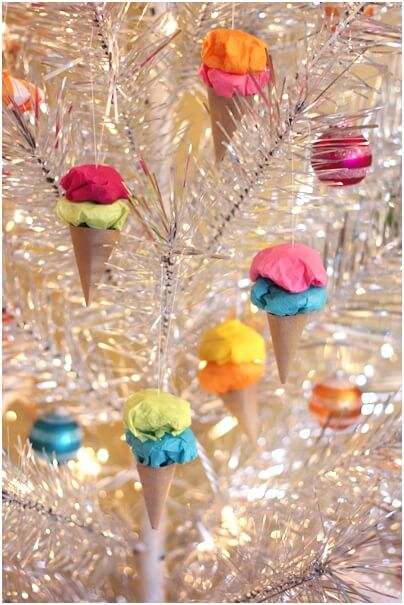 El Yapımı Dondurma şeklinde yılbaşı ağaç süsleri