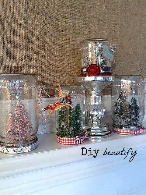Mason Jar Snow Globes www.diybeautify.com