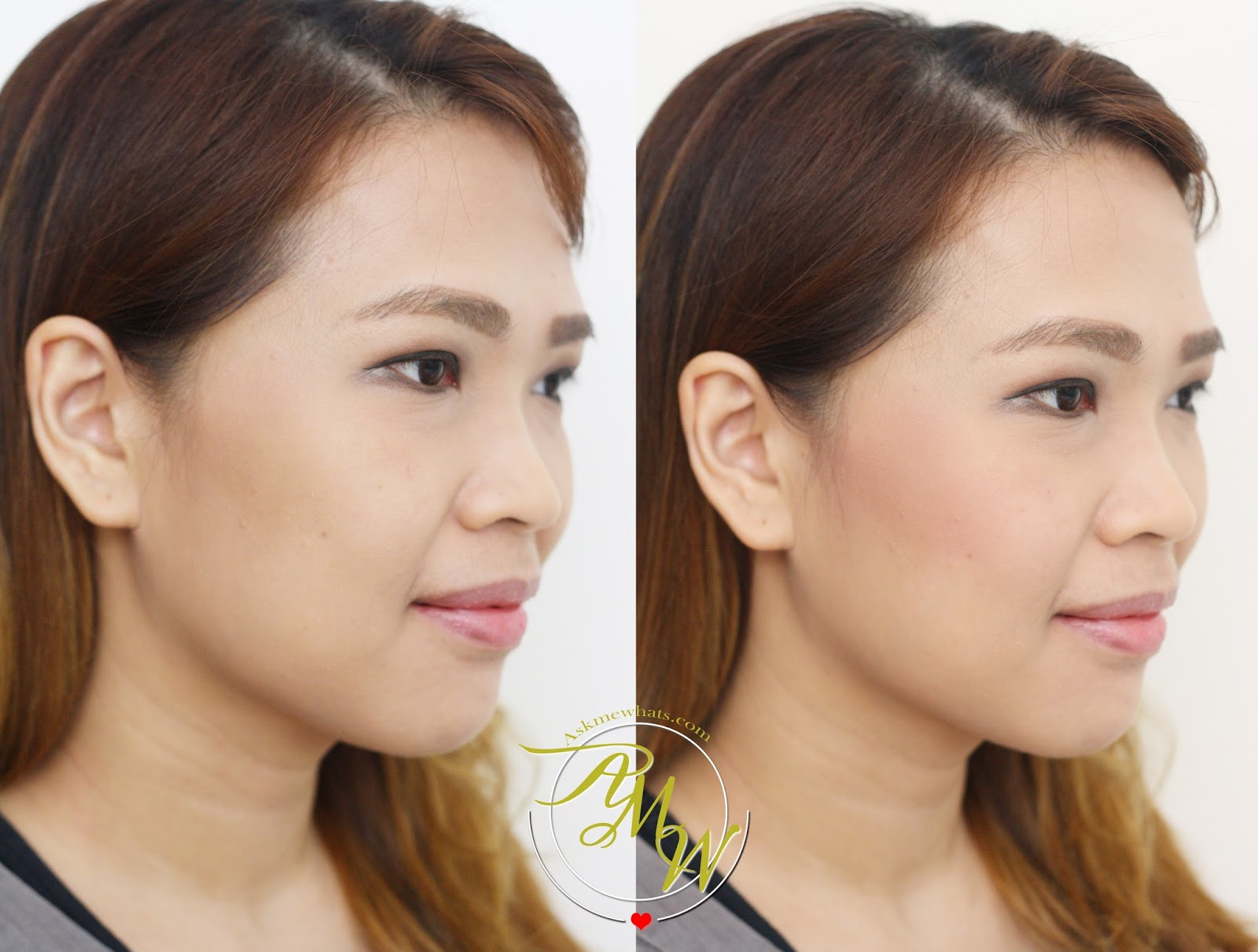 blush before and after. a before and after photo of etude house cookie blusher in peach choux wafer blush