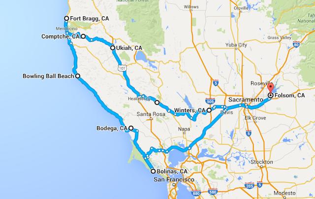 Folsom-Winters-Ukiah-Comptche-Fort Bragg-Bodega-Bolinas-Folsom map