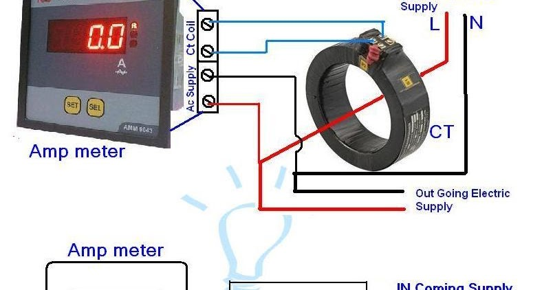 digital ammeter wiring with current transformer ct coil. Black Bedroom Furniture Sets. Home Design Ideas