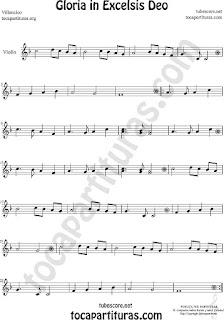 Violín Partitura de Gloria in excelsis deo Villancico Sheet Music for Violin Music Scores