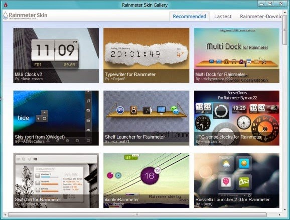 Rainmeter Skin Gallery Software Lets You Easily Download And