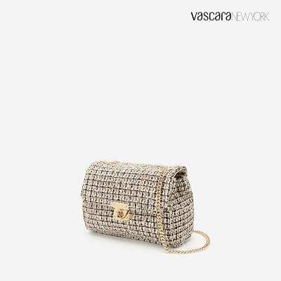 Túi Đeo Chéo Vải Tweed - SHO 0149 - Màu Hồng Nhạt