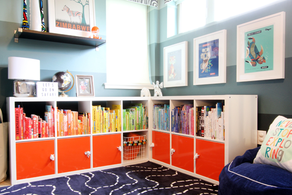 Ikea Kallax Bookshelf with Orange Doors