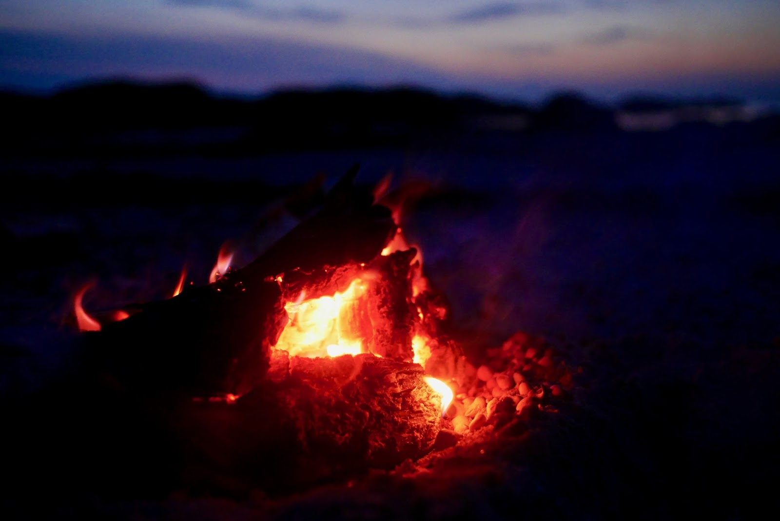 Stunning red flames of the campfire in Arisaig