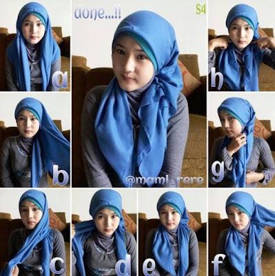 Gambar Tutorial Hijab Pesta Simple Segi Empat Modern Terbaru 2016