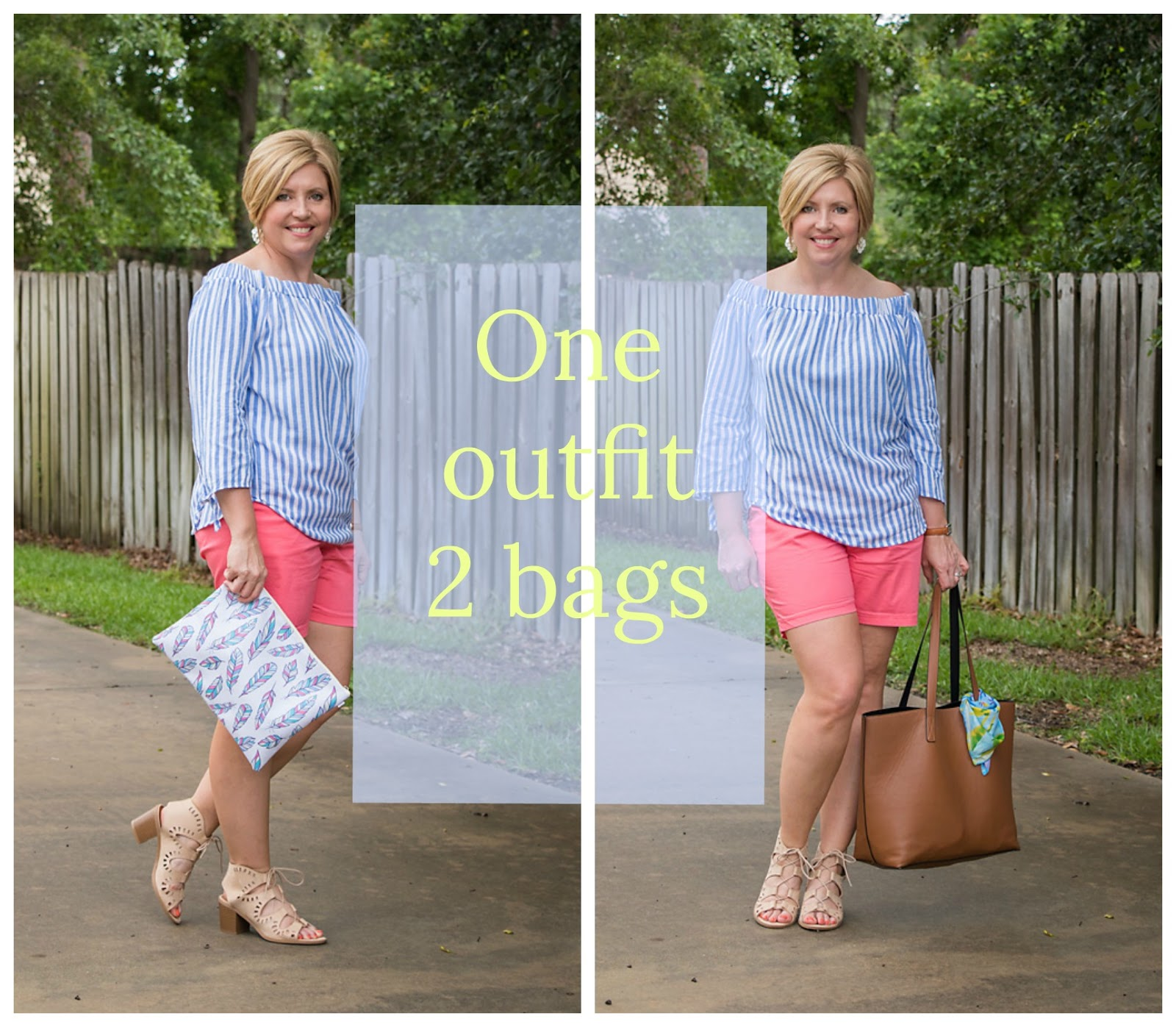 one outfit two bags, day to night outfit
