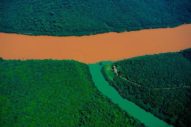 Confluence of the Rio Uruguay and a Tributary, Misiones Province, Argentina