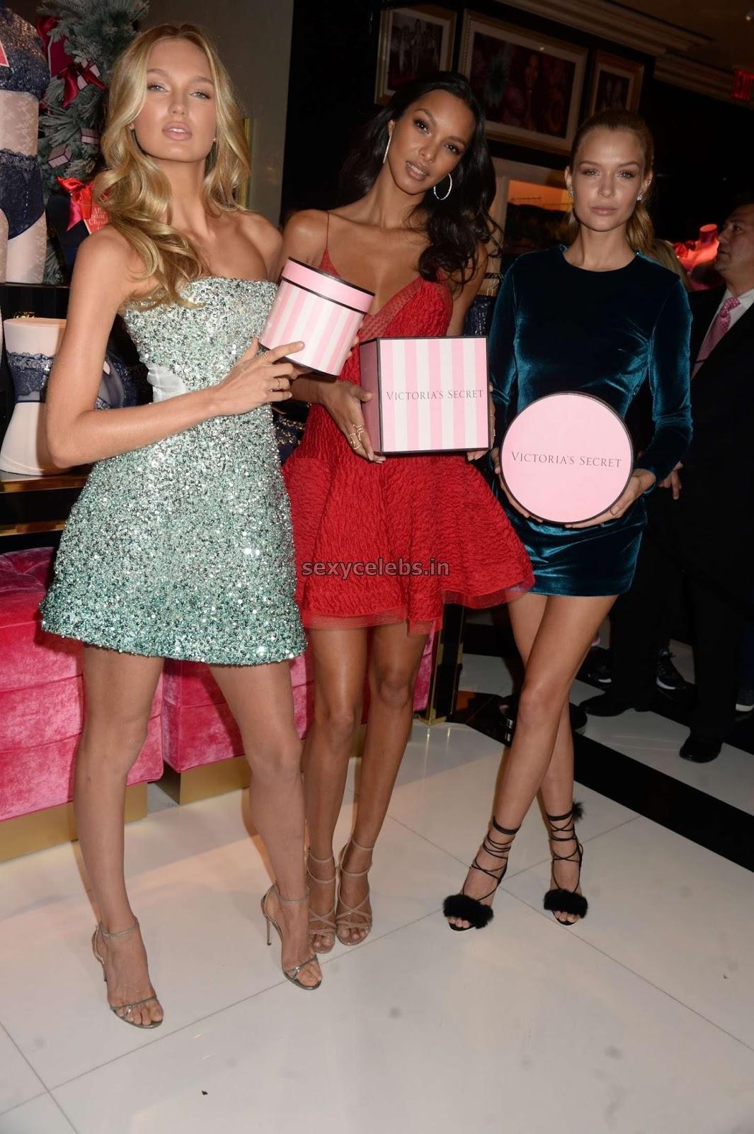 Lais Ribeiro in red Hot Lignerie for Victorias Secret Fashion Show Celebration Nov 2016 WOW Hot Boobs