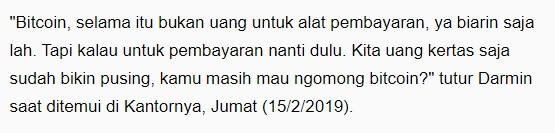 Jangan bikin pusing, Indonesia sudah pusing mikiran uang kertas, jangan ditambah lagi untuk ngurus uang digital
