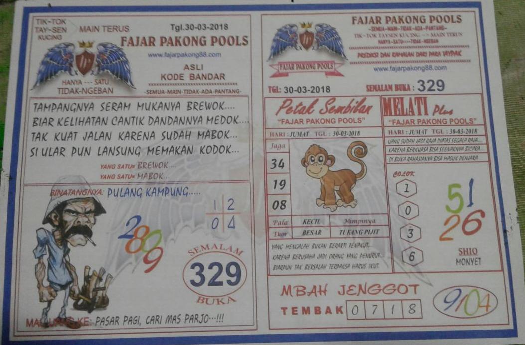 Kode Syair Fajar Pakong Hk Malaysian Pools 30 Maret 2018