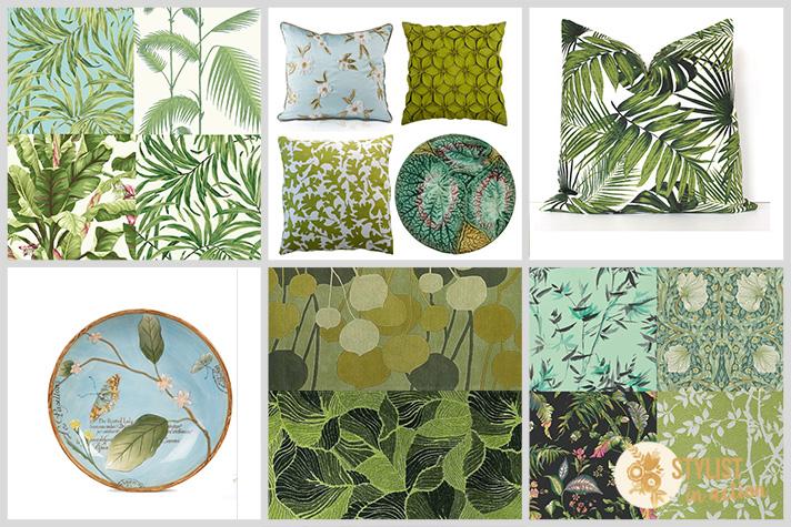 Texturas patterns y estampas de naturaleza para llevar greenery y otros tonos de verde a los interioes.