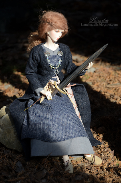 Damascus steel sword for BJD doll