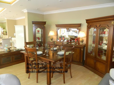 Indonesia Furniture Exporter,Classic Furniture,French Provincial Furniture Indonesia code A170 kitchen set classic , classic kitchen set with dining table brown mahogany,classic french dining table luxurious and high class