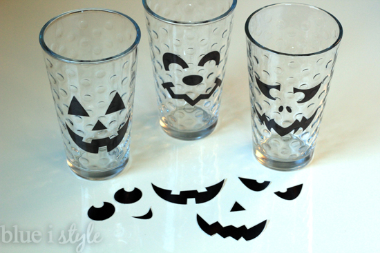 DIY Jack o'Lantern Drinking Glass Clings