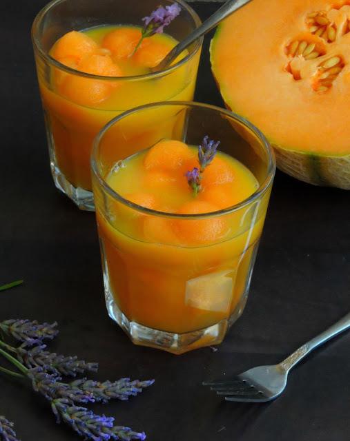 Melon balls in Orange Lavender Syrup
